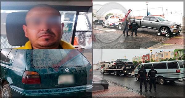 Aseguran vehículos robados y armas de fuego en Loma Alta