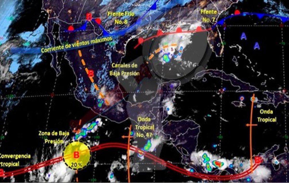Onda tropical 47 ocasionará lluvias fuertes en sureste y sur del país