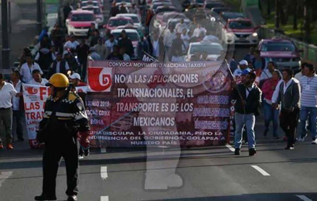 Taxistas contra plataformas UBER, Didi, Cabify, hacen bloqueos en la CDMX