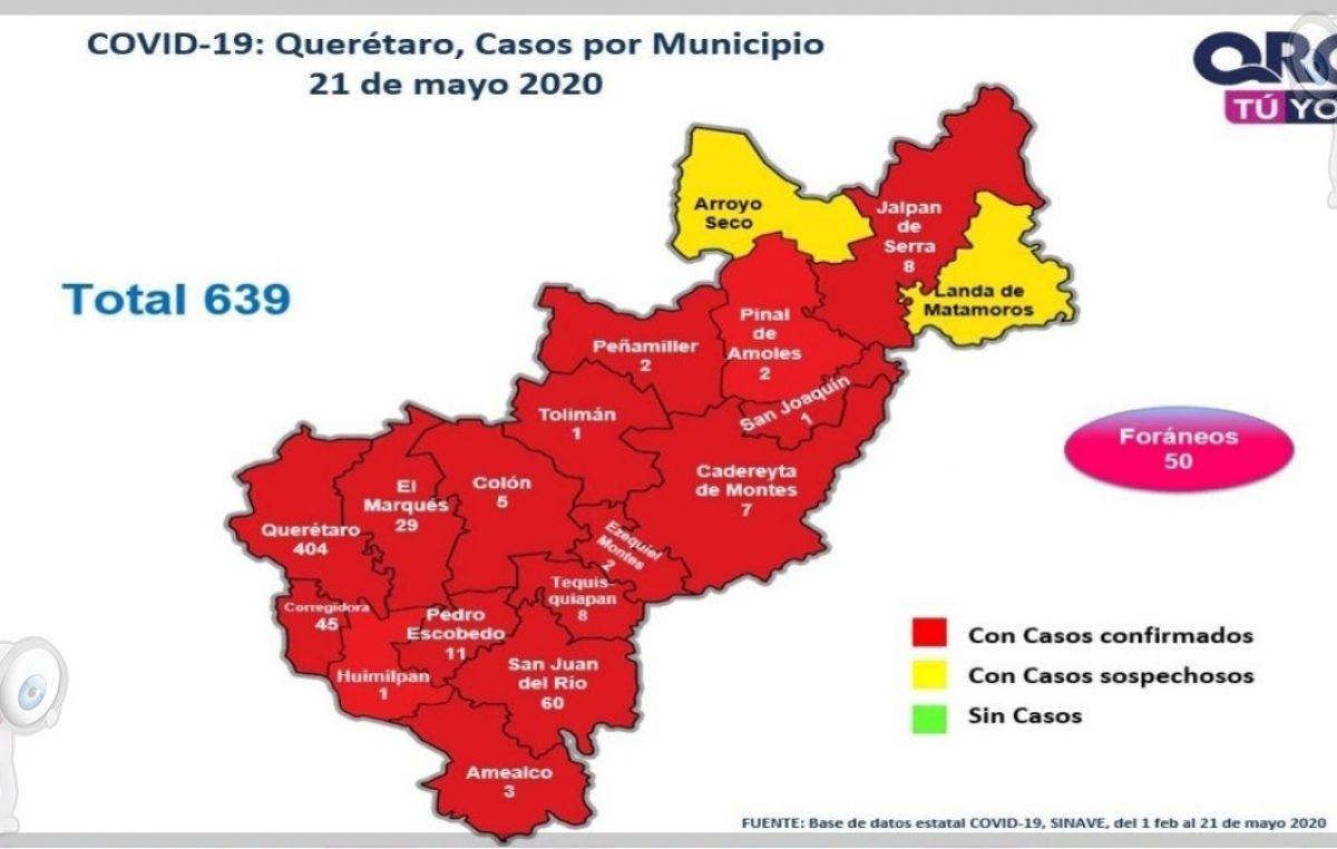 En Querétaro 639 casos de COVID-19, registran 68 defunciones