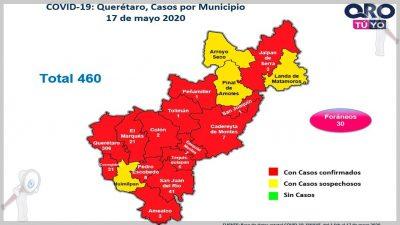 Registra Querétaro 50 defunciones por COVID-19 y 460 casos