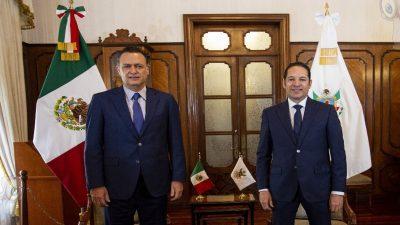 Recibe Francisco Domínguez a Mauricio Kuri González, gobernador electo de Querétaro