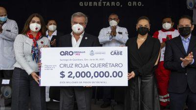 Entrega gobierno estatal donativo de 2 mdp a la Cruz Roja Mexicana
