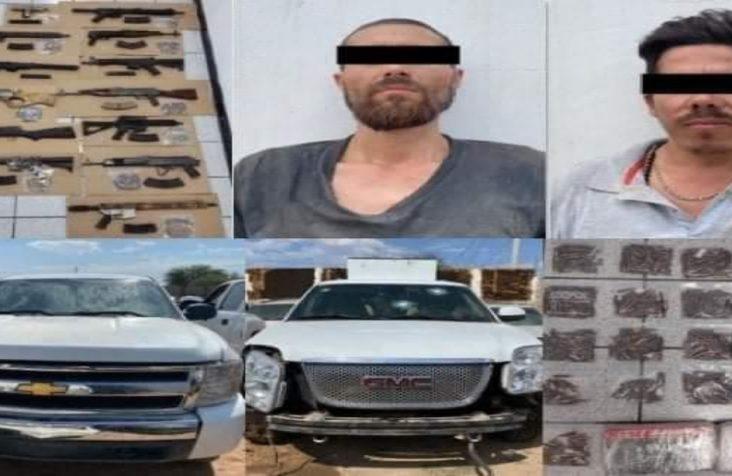 """Detienen a dos sicarios de """"La Chapiza"""" con fuerte arsenal y vehículo blindado en Sonora"""